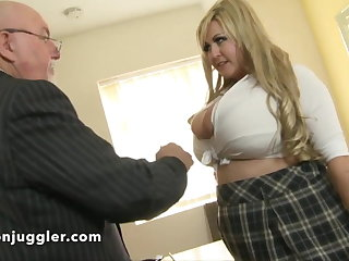 A dirty old pervy man with a buxom schoolgirl