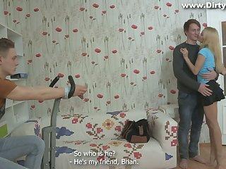 Russian girlfriend Marina ties up her boyfriend and makes him cuckold