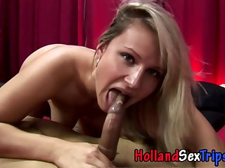 real blonde hooker from Amsterdam sucking knob on camera