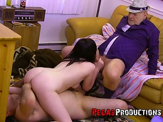 Lewd real dark aired ace of porn Melissa Foxxx works on two stiff dicks