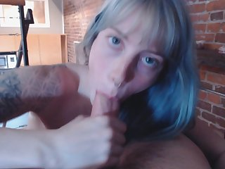 Blue Haired Reverse Cowgirl N Blow Job - pov porn