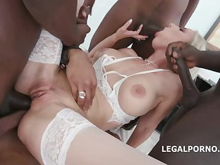 Blond with blue eyes, Natalie Virgin is throating many ebony sausages in a row and getting pounded