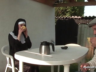 Young french nun sodomized in threesome with Papy Voyeur