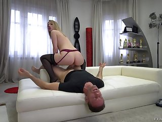 Blonde takes the lead in riding Rocco's dick