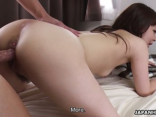 Salacious Asian milf Asuka Kyono shows off her creampied hairy pussy