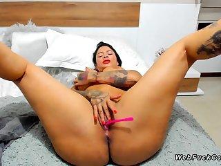 Huge breasts tattooed dark hair on webcam