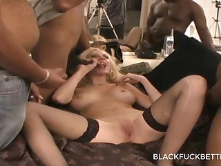 Gangbang Foursome for that blond who s always asking for more