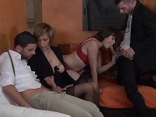 Foursome mom french double couples