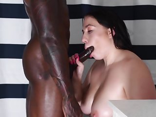 pawg vs big black cock - interracial  Sex