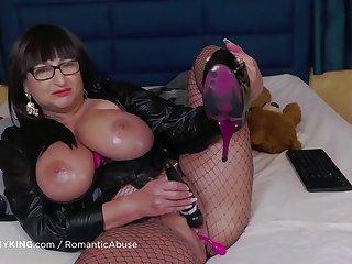Horny mature with big oiled tits masturbating - Homemade