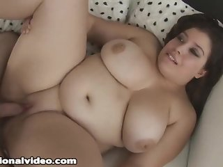 Cute brunette BBW plumper with fat ass gets cum on tits in homemade POV hardcore