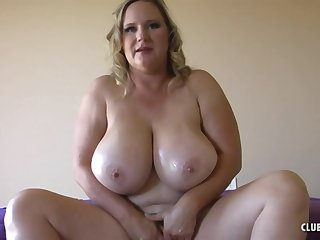 Blonde mature wife with monster tits gives POV handjob and titjob - titty fucking