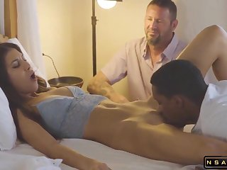 Husband Arranged A Date For His Young Wife - Cumshot