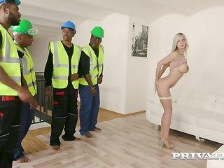 Voluptuous tart interracial gangbang energizing sex scene