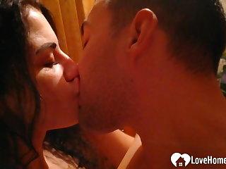 Girlfriend strips and sucks a big boner