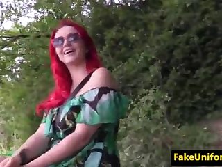 Buxom UK sandy-haired porked by officer outdoors