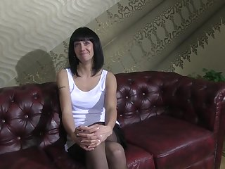 Very First pornography casting with 30 yo German dark haired in mind-blowing ebony pantyhose