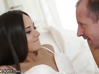 Russian dark-haired is about to have hump with many fellows in her enormous living apartment
